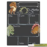 Cohas Monthly Milestone Board for Baby with Dinosaur Theme, Reusable Chalkboard Style Surface, and Liquid Chalk Marker, 9 by 12 Inches, White Marker