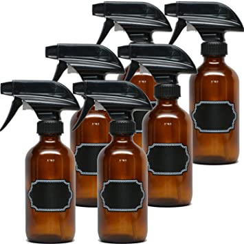 Amazon com : 8oz Empty Amber Glass Spray Bottles with Poly