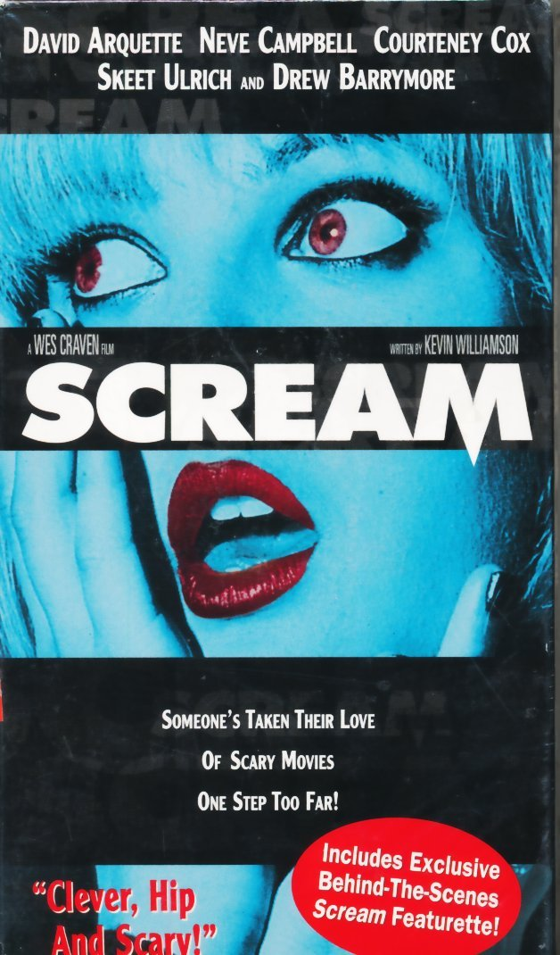 Amazon.com: Scream [VHS]: Neve Campbell, Courteney Cox, David Arquette, Skeet Ulrich, Drew Barrymore, Roger Jackson, Kevin Patrick Walls, David Booth, ...