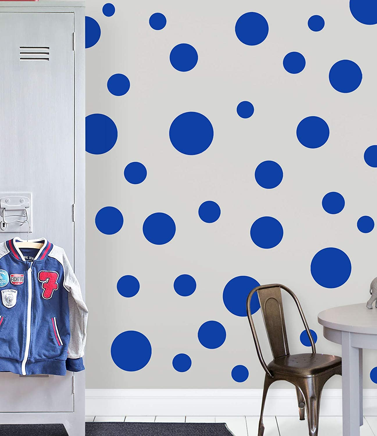 "Polka Dot Wall Decals (63) Girls Room Wall Decor Stickers, Wall Dots, Vinyl Circle Peel & Stick DIY Bedroom, Playroom, Kids Room, Baby Nursery Toddler to Teen Bedroom Decoration 3"" - 6.5"" (Blue)"