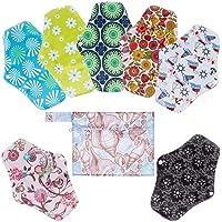 Rovtop 7PCS 25.4cm Reutilizables de Toallas Femeninas - Almohadilla Menstrual Reutilizable Compresa + 1 Bolsa de Transporte Mini