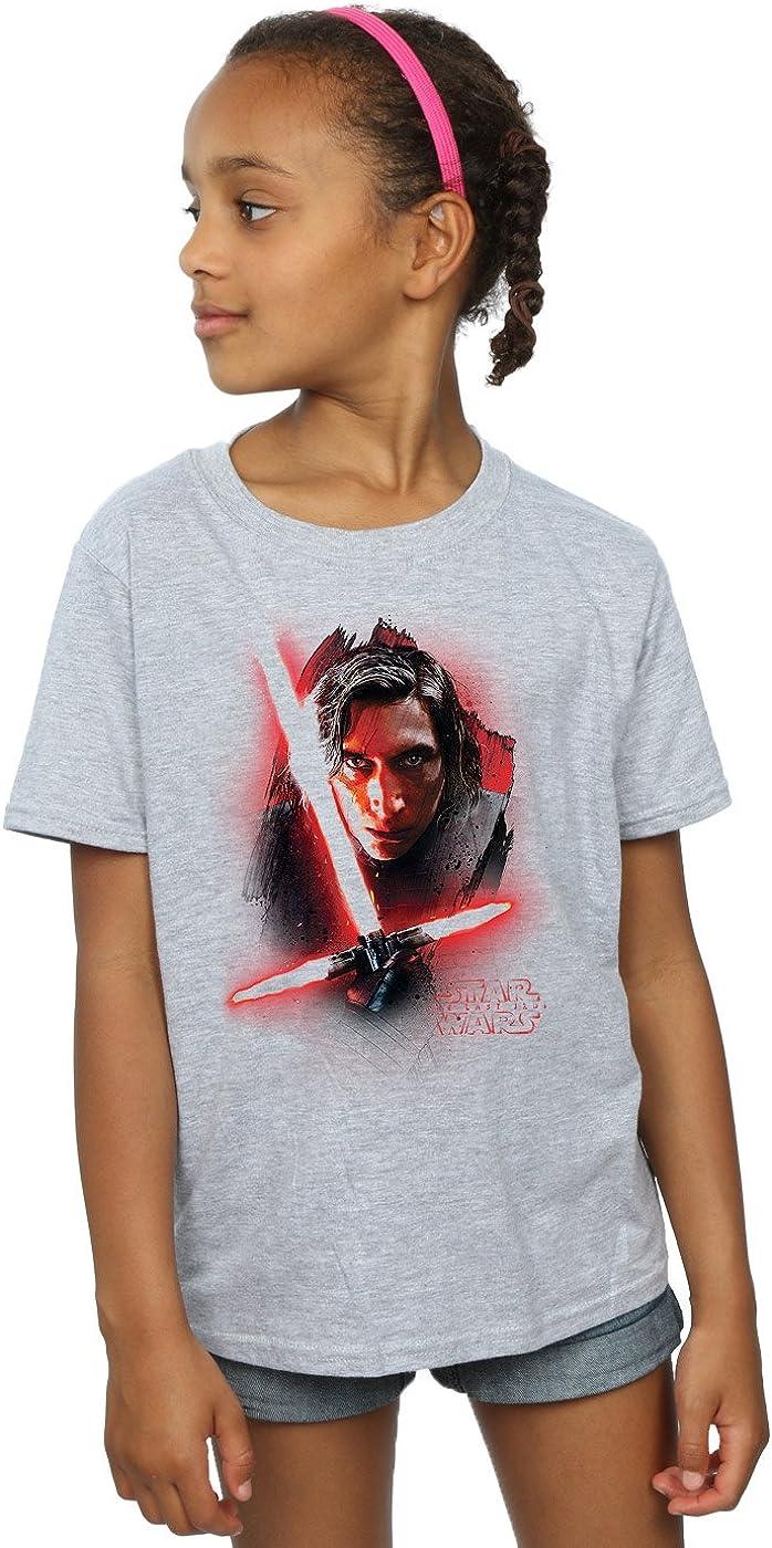 STAR WARS Girls The Last Jedi Kylo Ren Brushed T-Shirt 5-6 Years Sport Grey