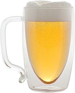 Starfrit 080061-006-0000 17-Ounce Double-Wall Beer Mug, Clear