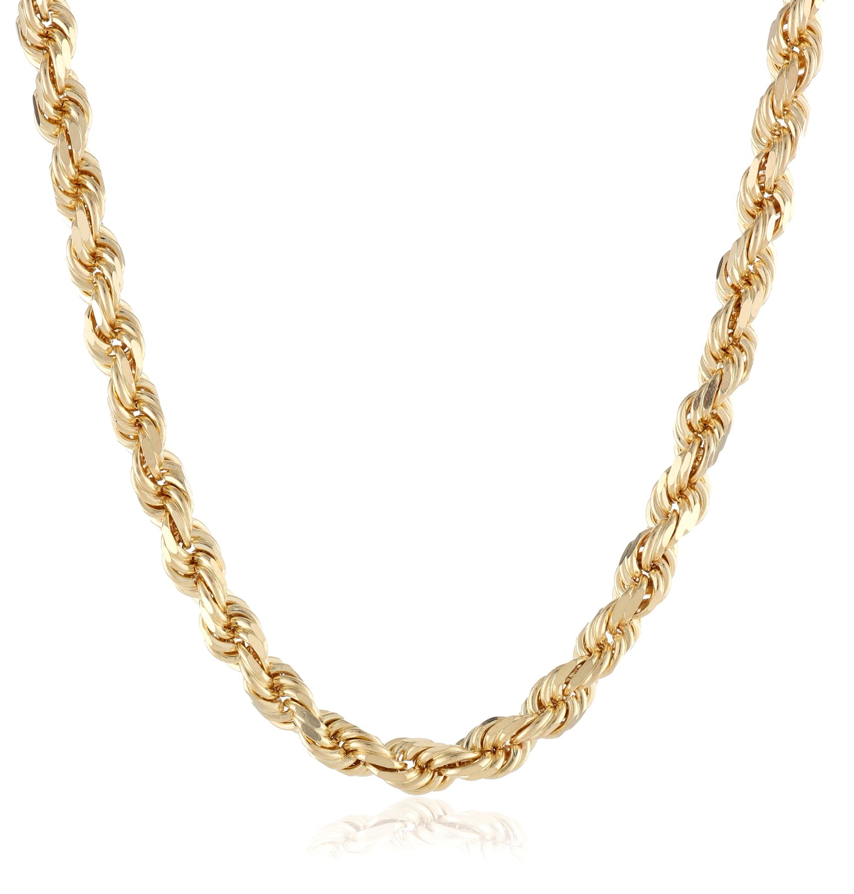Men's 14k Solid Yellow Gold 4.5mm Wide Diamond-Cut Rope Chain Necklace, 30''