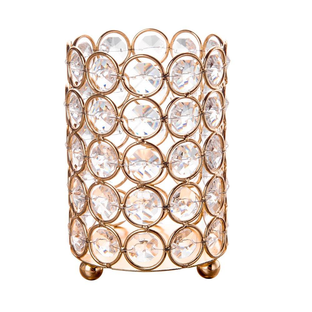 Feyarl portacandela perline di cristallo candela lanterna 5 Layer Beads makeup Brush Holder for wedding festival Home Decor