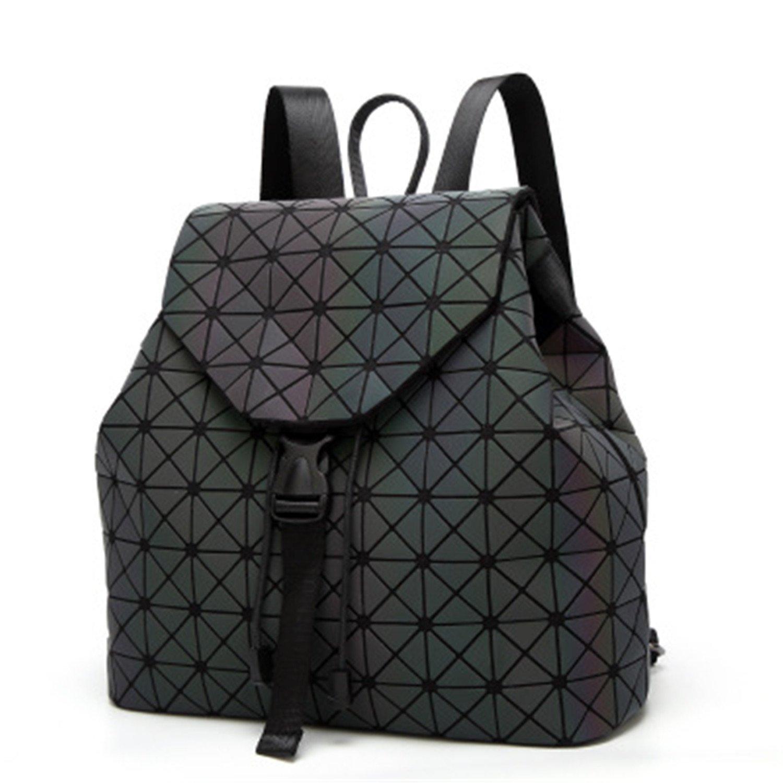 Jeff Tribble Women Backpack Luminous Geometric Plaid Sequin Female Backpacks
