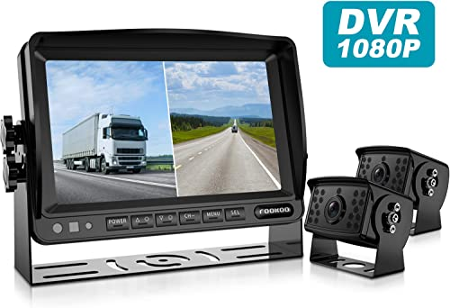 Fookoo HD 1080P Backup Camera System Kit,7 Split Screen Monitor, IP69 Waterproof Rear View Camera for Truck Semi-Trailer Box Truck RV, Sharp CCD Chip, 100 Not Wash Up FHD2-Wired
