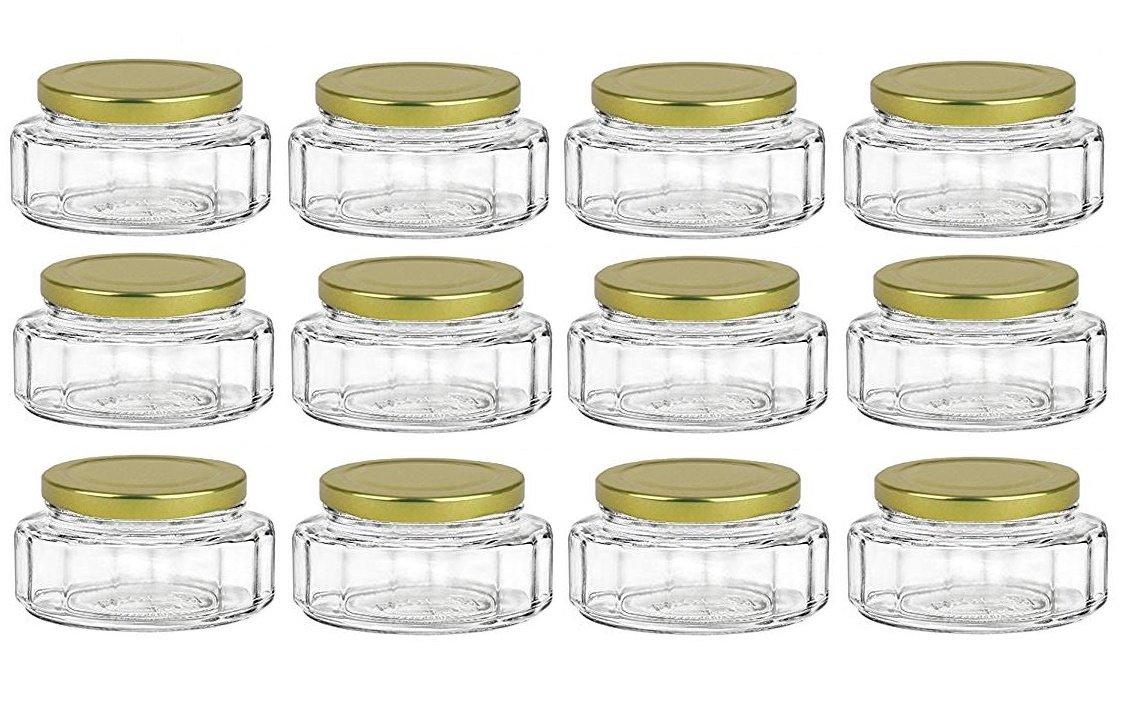Amazon.com: Nakpunar 6 oz Beveled Glass Jars with Lids for Jam ...