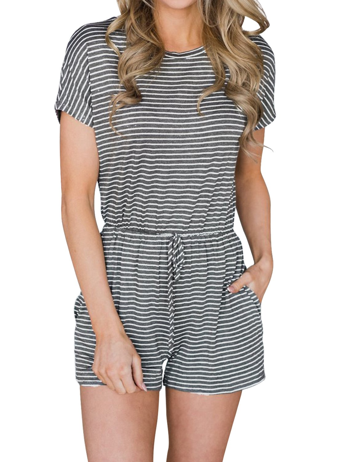 MIHOLL Women's Casual Rompers Short Sleeve Striped Jumpsuits with Pocket(Medium, Grey)