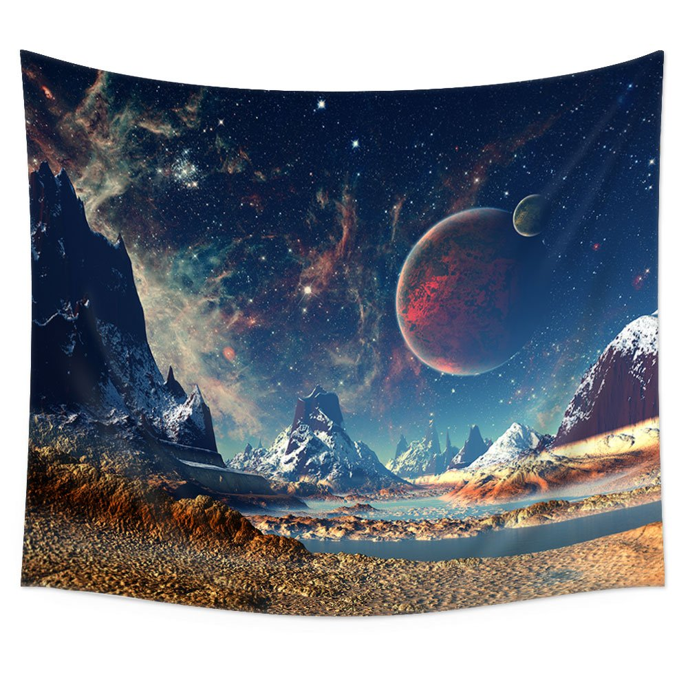 Uphome Wall Tapestry Hanging, Planet with Earth Moon and Mountains Pattern – Light-weight Polyester Fabric Wall Decor (51'' H x 60'' W, Galaxy)