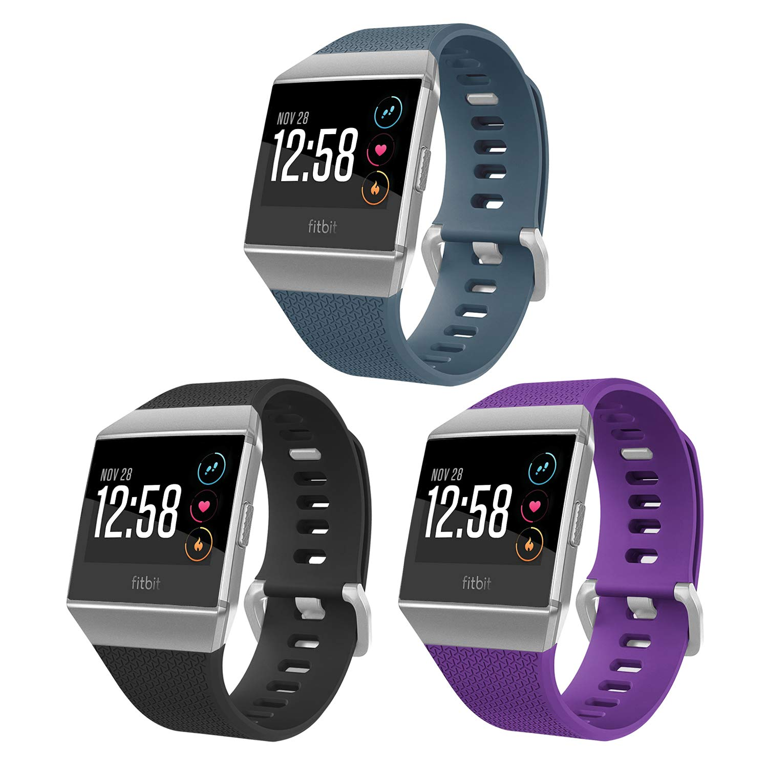 SKYLET Compatible with Fitbit Ionic Bands 3 Pack Soft Sport Replacement Bands Compatible with Fitbit Ionic Smart Watch Wristband with Metal Buckle ...