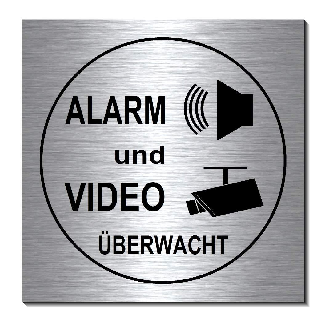 Video Alarmgesichert-Video/überwacht-Schild 100 x 100 x 3 mm-Aluminium Edelstahloptik silber mattgeb/ürstet-selbstklebend Warnschild-Videoschild-Hinweisschild 1910-72