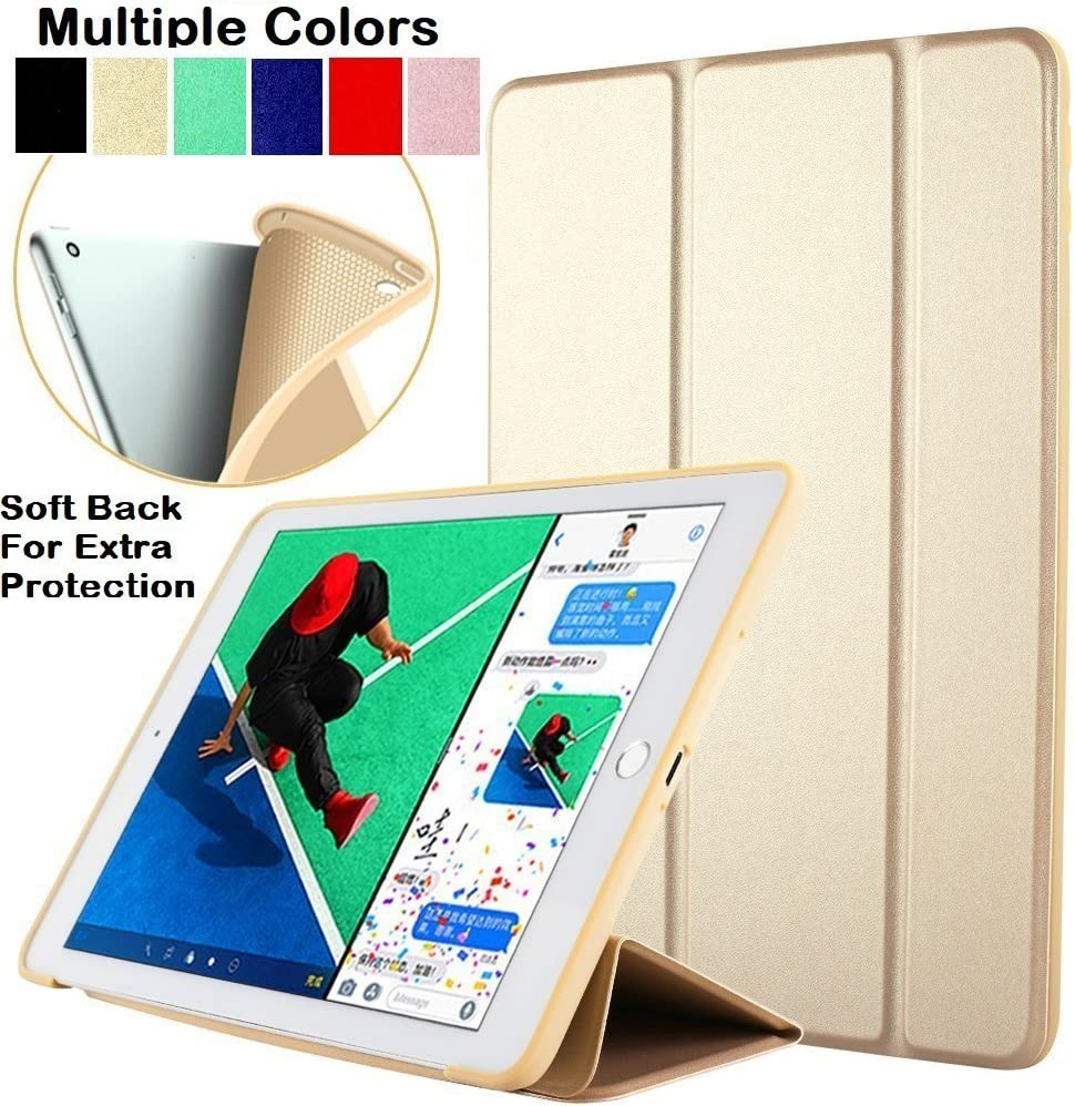 DuraSafe Cases for iPad Air 1 Gen 2013 9.7 Inch [ A1474 A1475 ] Soft Silicone Back (for Extra Shock Protection) Ultra Slim Smart Cover Auto Sleep/Wake - Gold