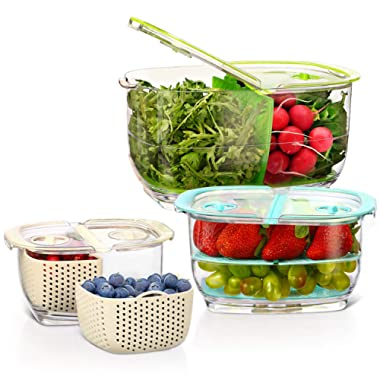 LUXEAR Produce Saver Veggie Fruit Storage Containers - 3 Piece Set BPA-free Food Storage Container with Vent - Partitioned Stay Fresh Storage Organizer for Vegetable Strawberry, Refrigerator/Picnic