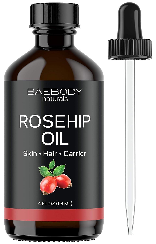 Rosehip Seed Oil - Excellent Carrier Oil for Face, Skin, Hair, Nails. Premium Oil for Shine. Value Size - Large 4 OZ Baetea