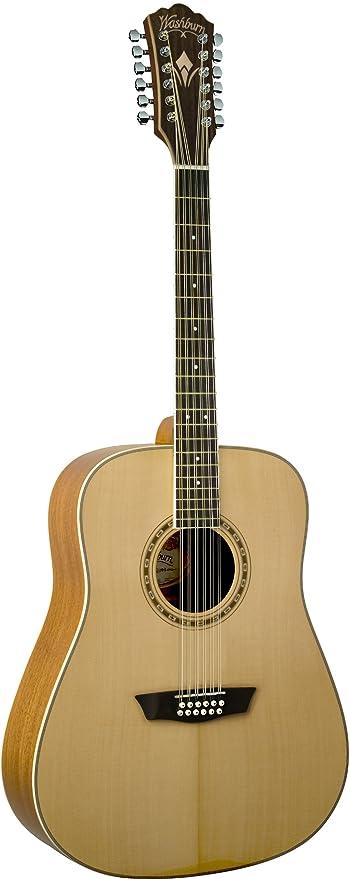 Washburn WD10S12 - Guitarra acústica con cuerdas metálicas, color ...