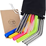 TISRO Mouth Safe Reusable Straws, 6 Metal+4 Silicone(BPA Free) Boba Drinking Straws, 3rd.Generation Anti-Scratch Stainless Steel Straws with Cleaning Brushes and Carry Bag.(Black)