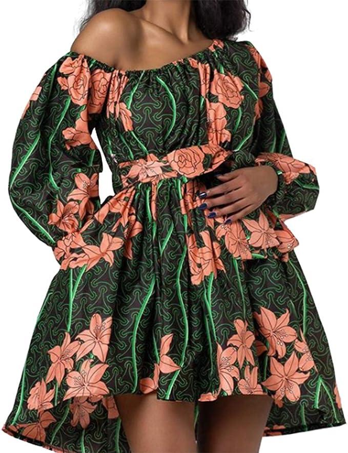 OLIPHEE Vestiti Causuale Disegno di Stile Etnica Manica della Lanterna per Donna e Ragazze