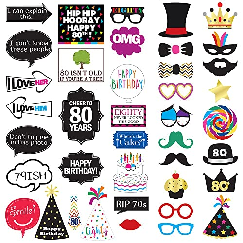 80th Birthday Photo Booth Party Props