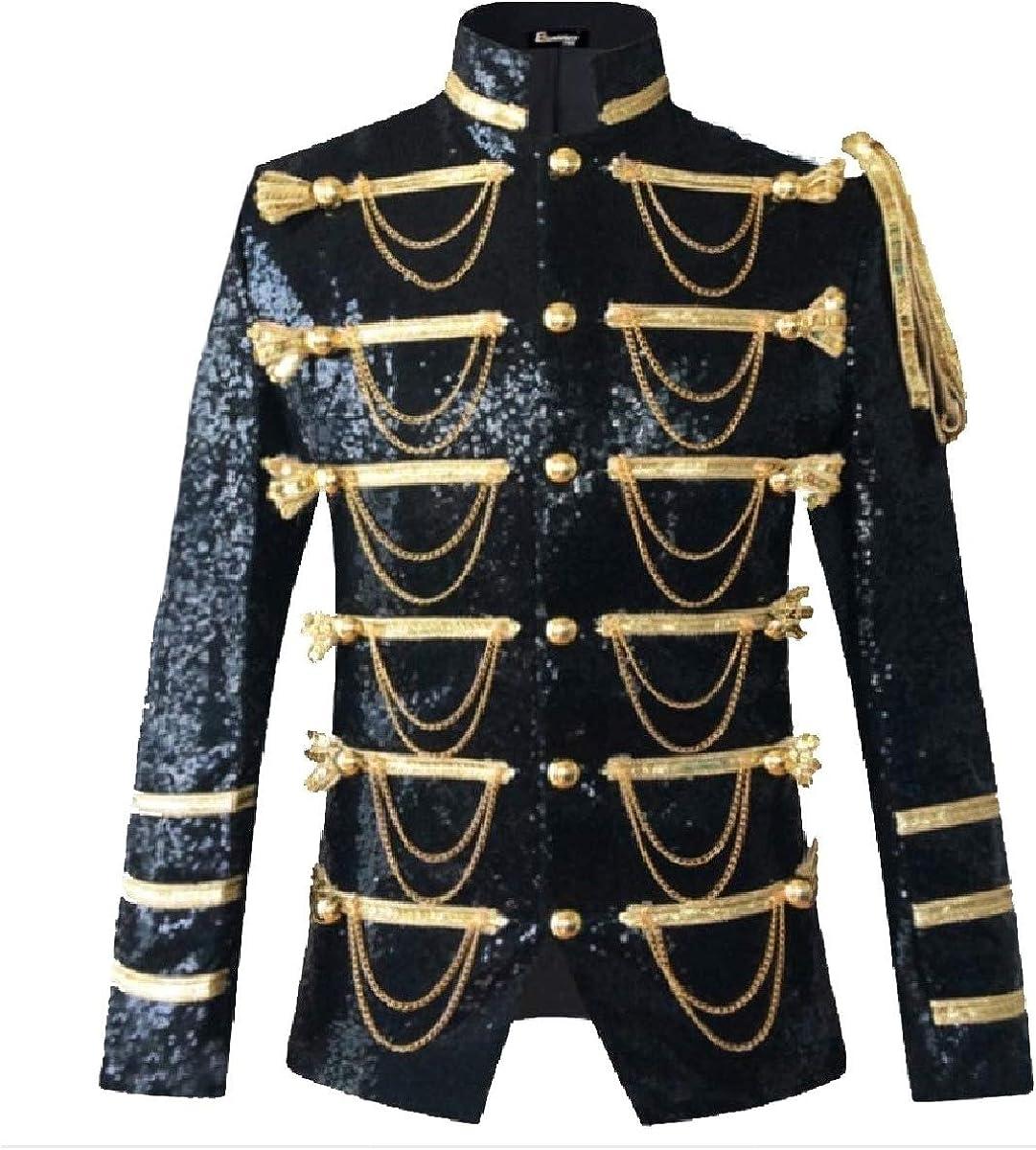 Losait Mens Sequin Glitter Single Breasted Blazer Dress Coat for Show