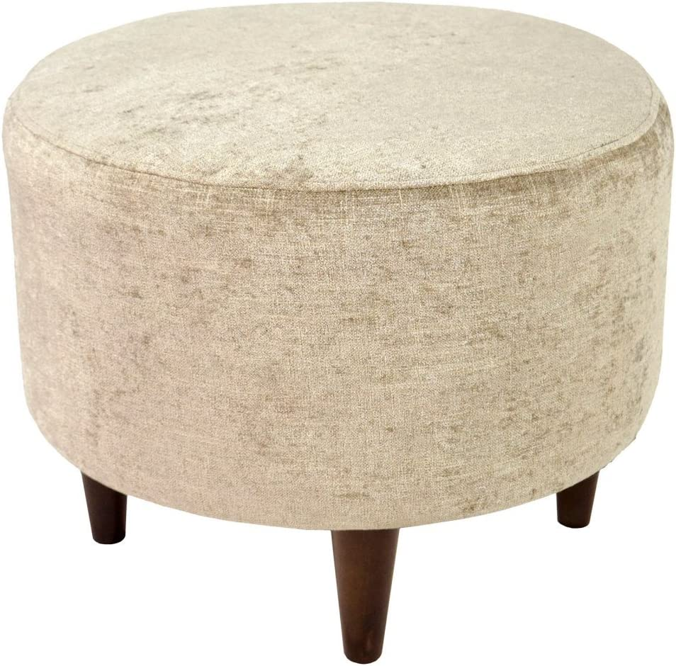 MJL Furniture Designs Sophia Collection Atlas Series Contemporary Round Ottoman, Sterling Tan/Wooden Legs