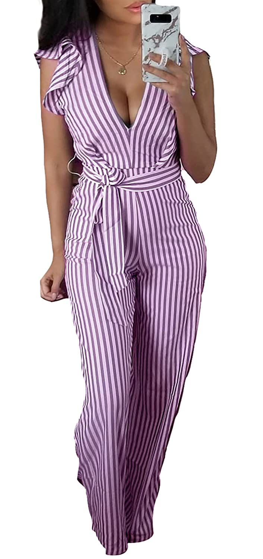 Voghtic Floral Printed Backless Jumpsuit Women Halter Sleeveless Wide Long Pants Jumpsuit Rompers