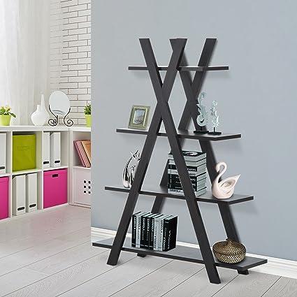 4 Tier A Frame Bookcase Display Storage Rack Ladder Bookshelf Home Shelving Unit Black