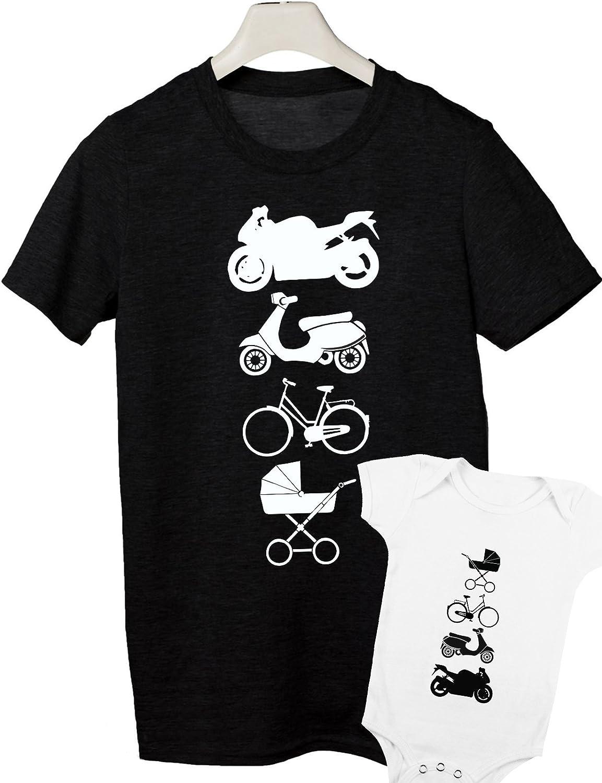 Camiseta para Hombre y Body Bebé Manga Corta Evolución Motero - Regalos Originales para Padres y bebés