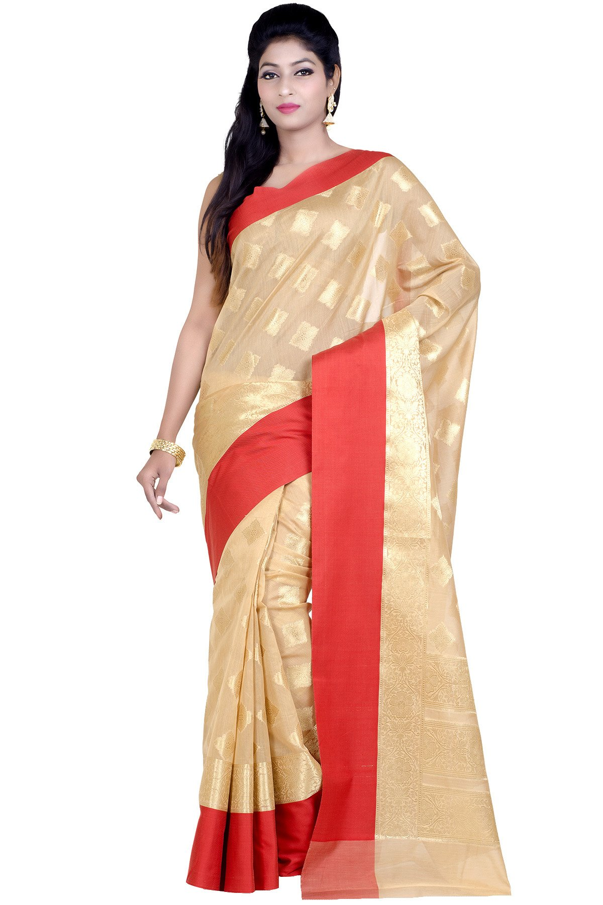 Chandrakala Women's Beige Mercerize Cotton Banarasi Saree with unstitched Blousepiece.