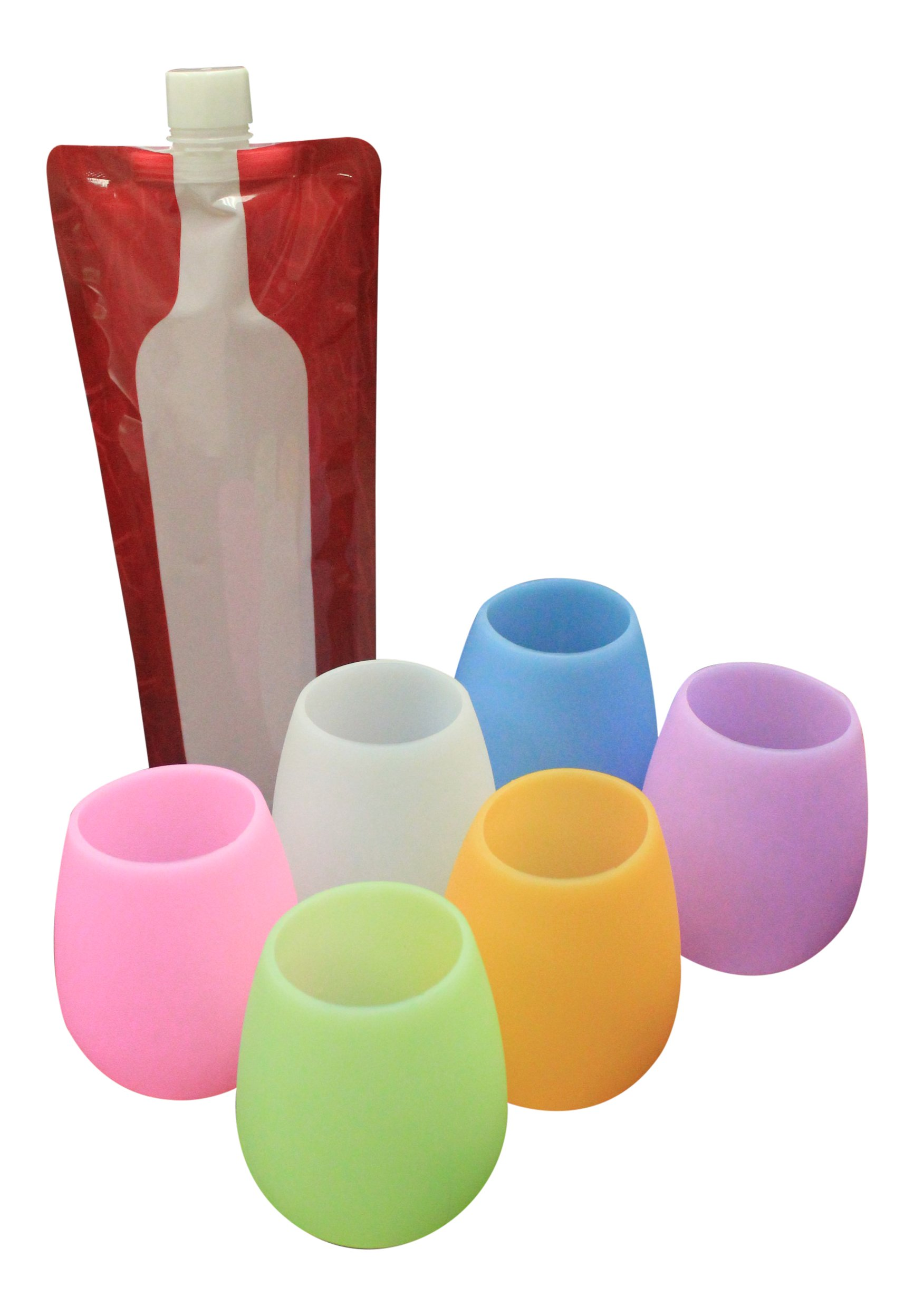 SIX Unbreakable Silicone Cups, Multipurpose Squishy Glasses for Beer, Wine and More, Kid-safe, Pool-safe, Party-safe Drinkware Insulates hot & cold, 12 Oz SIX Pack - FREE Foldable Bottle (Multi)