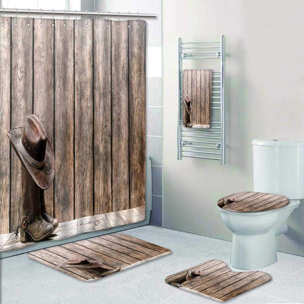 Philip-home 5 Piece Banded Shower Curtain Set American West Rodeo Brown Felt Cowboy hat ATOP Worn Wood Deck in Front of a Vintage Ranch Decorate The Bath