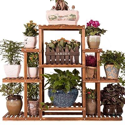 Yxx max -Home Decoration Wooden Flower Stand/Indoor Floor, Planter Organizer Display Shelves Solid Wood Shelves Display Stand (Size : No Wheels) : Garden & Outdoor