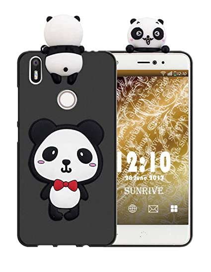 Sunrive Funda para bq Aquaris X/X Pro, Silicona Mate Funda Slim Fit Gel 3D Carcasa Case Bumper de Impactos y Anti-Arañazos Espalda Cover(W1 Panda 1) + ...
