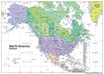North America Political Map - Paper Laminated - A1 Size 59.4 x 84.1 ...