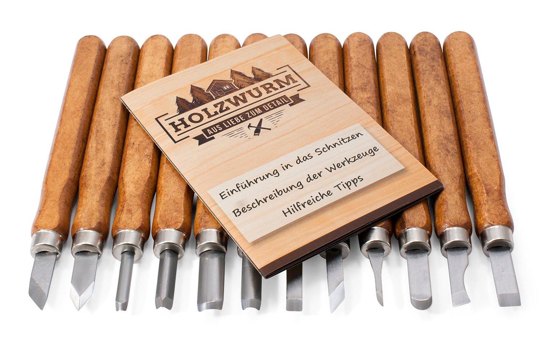 Madera Gusano schnitzwe Desmontar Juego de 12 piezas incluye instrucciones, para principiantes y profesionales, ideal Cuchilo de tallar para madera de tilo, frutas y verduras, Super regalo Idea. A&N GesbR