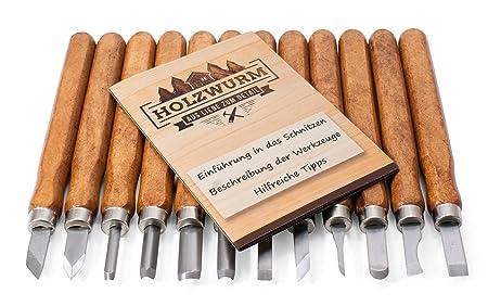 Holzwurm Schnitzwerkzeug Set 12 Tlg Inkl Anleitung Schnitzmesser