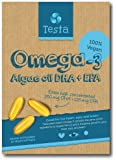 Testa Omega-3 – Cut out the middle-fish - much Healthier than Fish Oil – plant based Omega-3 DHA + EPA from Algae oil – Pure and Vegan – 60 capsules