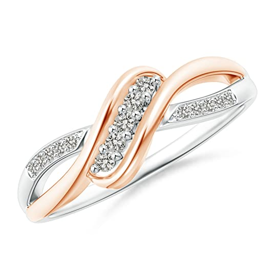 Angara Slanted Five Stone Diamond Bypass Ring in Two Tone S4RVtmUX