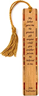 product image for Mitercraft Father Quote by Jim Valvano - Engraved Wooden Bookmark with Tassel - Search B07Q4XY8L1 to See Personalized Version