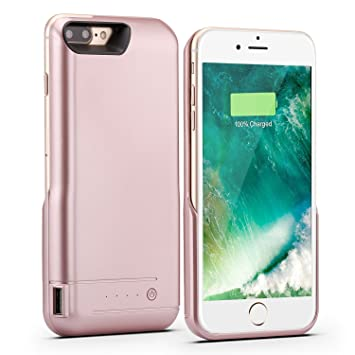 Funda Batería iPhone 8 plus/iPhone 7 Plus (5.5 Inch), PEMOTech Case Carcasa Con Batería Cargador-batería Externa Recargable 8200mAh Para iPhone 8 ...