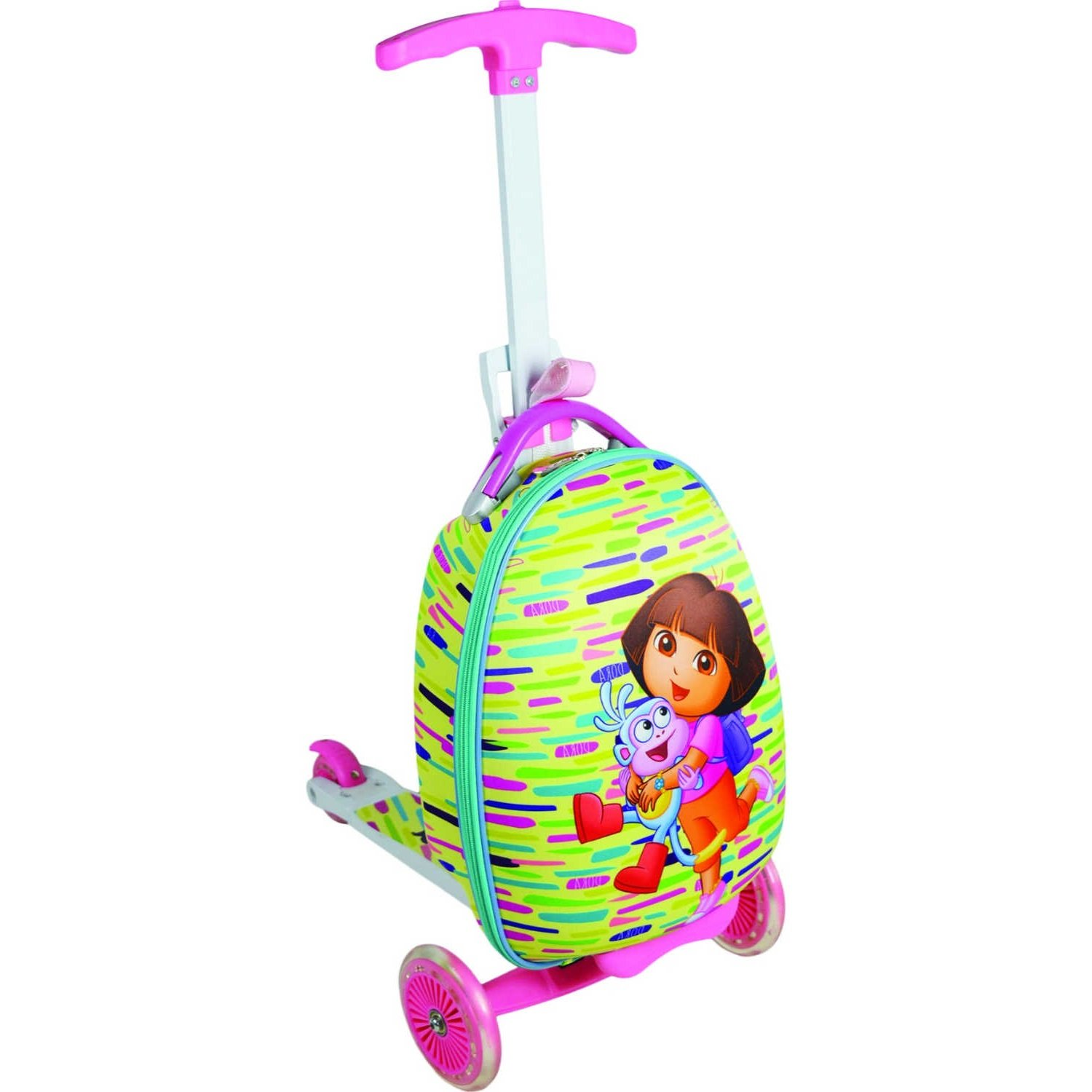 Dora The Explorer And Boots Pattern Scootie Ride On Spinner Lightweight Luggage, Adventurer Fun Friends Themed, Hardsided, Checkpoint Friendly, Kids Handle Hard Travel Case, Pink, Mint, Size 110 Lbs