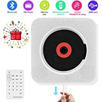 Cd-speler Bluetooth aan de muur monteerbare draagbare CD-muziekspeler met afstandsbediening voor kinderen, FM-radio ingebouwde hifi-luidspreker, ondersteunt USB/MP3/3,5 mm hoofdtelefoon.