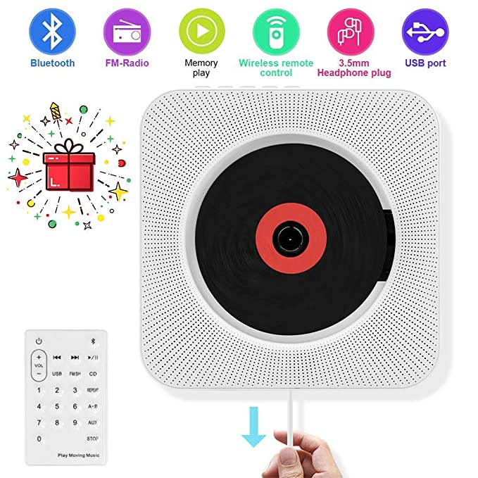 7 opinioni per AONCO Lettore CD Montabile a parete Speaker Bluetooth portatile Home Audio con