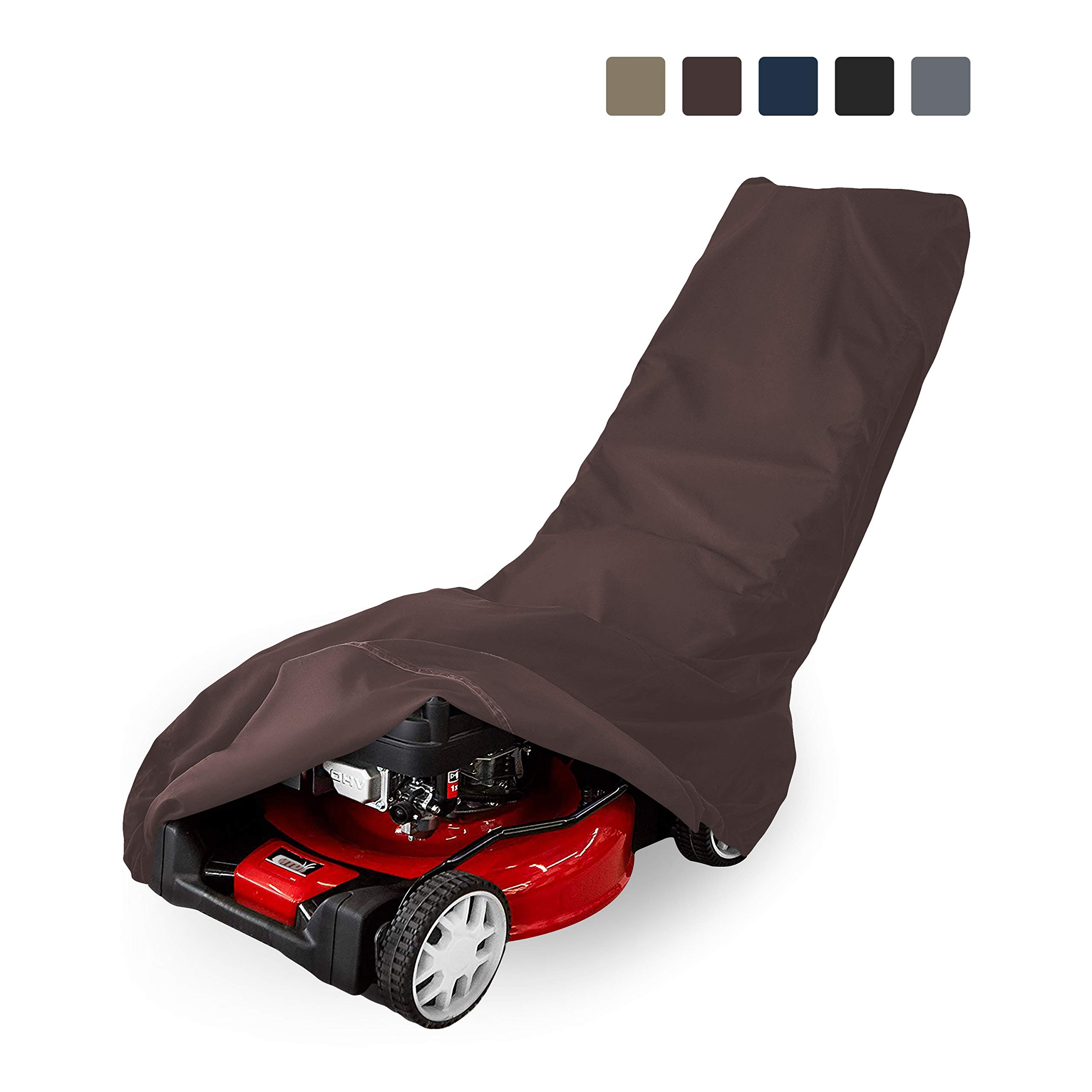 Lawn Mower Cover 12 Oz Waterproof - Customize Cover with Any Size - 100% UV & Weather Resistant Grass Mower Cover with Air Pocket and Drawstring with Snug Fit (50'' W x 25'' D x 44'' H, Coffee)