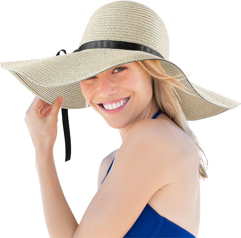 Sombrero De Paja, Mujer Sombreros De Playa De Verano De ala Ancha para Sombrero De Sol Plegable y Flexible (Blanco lechoso)