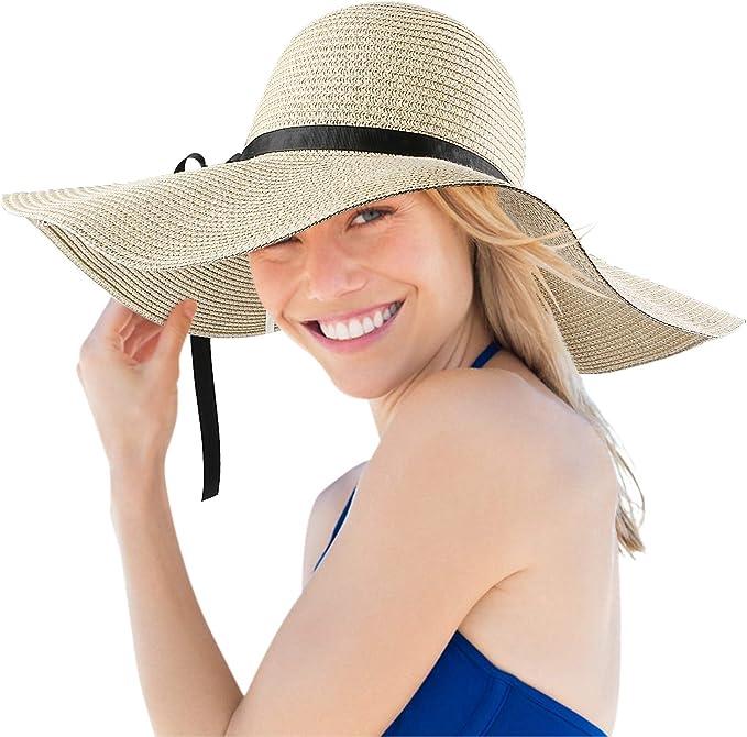 Mujer Verano Sombrero de Paja Grande Ala Ancha Beach Hat Plegable