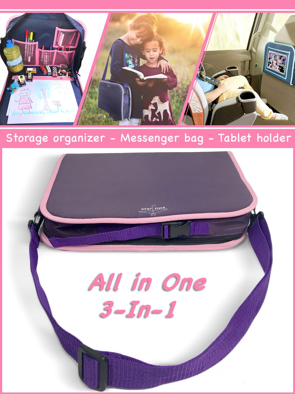 Car Seat Kids Travel Tray (in Purple) with Solid Surface | Messenger Bag for Children, Portable Drawing Table for Toddler | Toys and Snacks Storage Organizer, Tablet Holder, Activity Tray, Play Tray