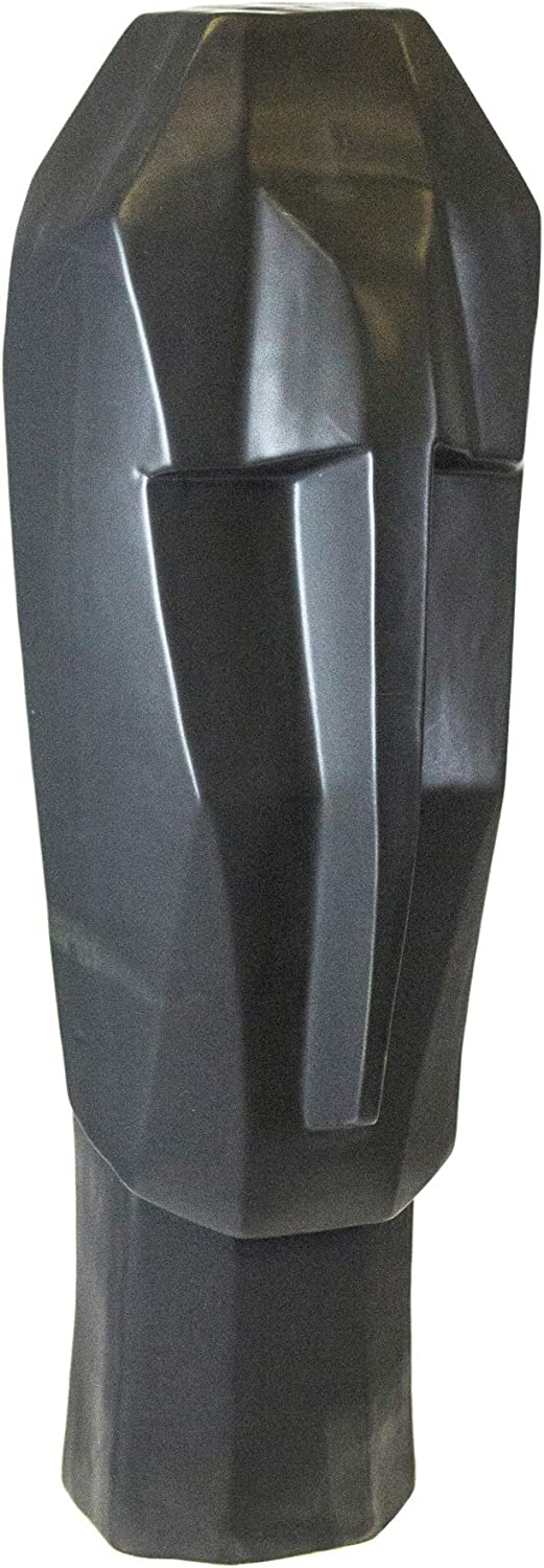 Sagebrook Home 11936 Abstract Face Sculpture, Matte Black Ceramic, 5 x 7.75 x 20.5 Inches