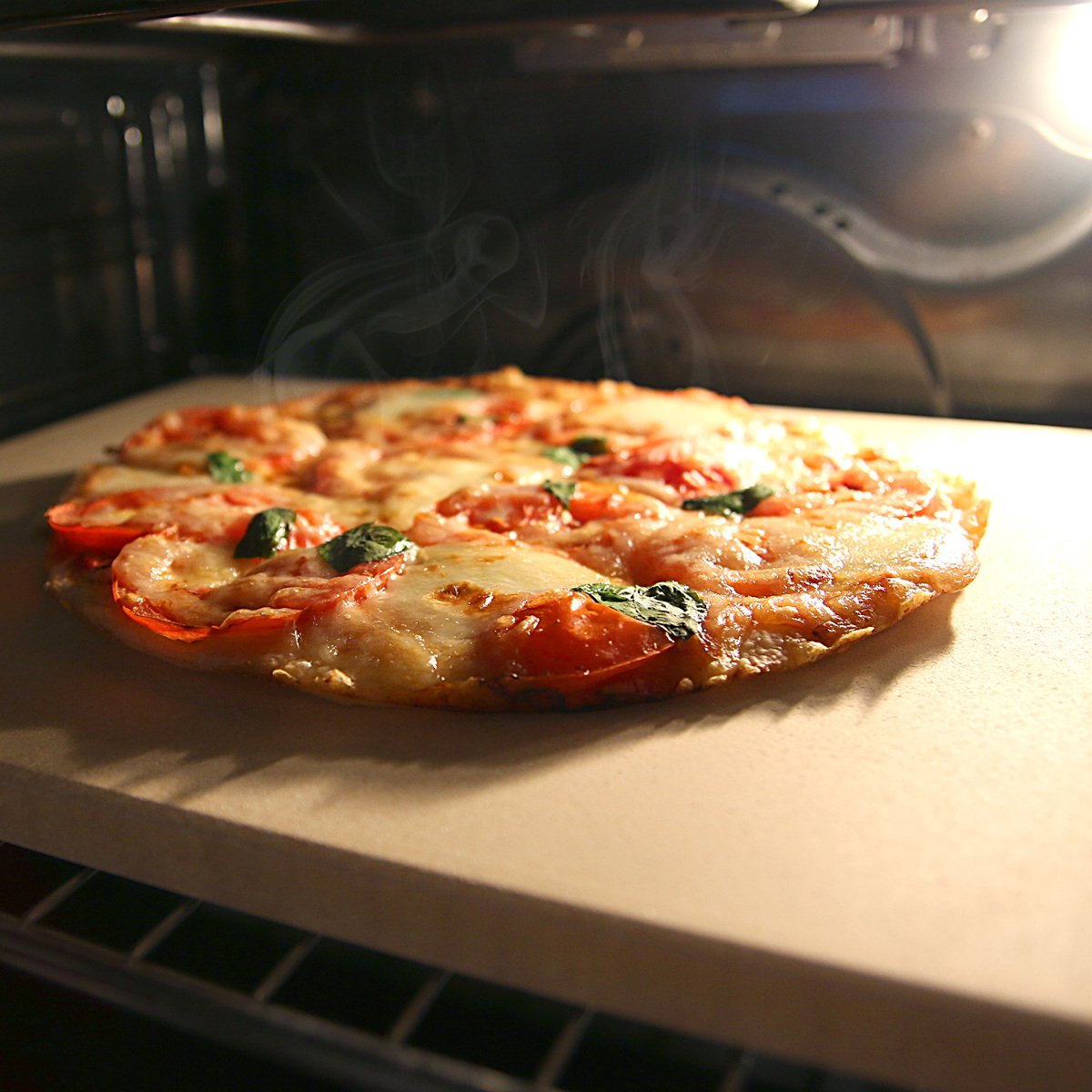 Navaris piedra para pizza de cordierita - Piedra de horno para pizza pan pasteles - Plato rectangular para grill en beige: Amazon.es: Hogar