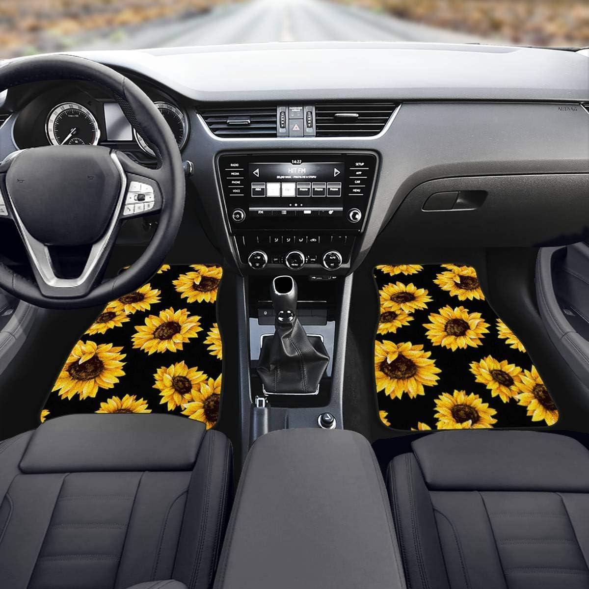 Tupalatus Animal Wolf Print Car Floor Mats Sets Lightweight Rubber Car Rug Interior Protection Decor 4 Piece Front /& Rear Car Mat Set